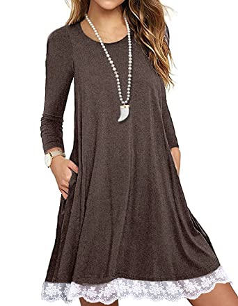 5ab2108c2cc Sanifer Women s Long Sleeve Cotton Lace T Shirt Dress with Pockets (Small