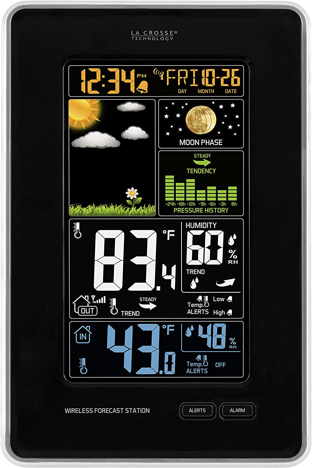 La Crosse Technology 308-1425B-INT Vertical Wireless Color Weather Station with Pressure, Black