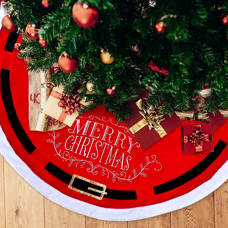 POPUTOY Christmas Tree Skirt, 48 Inch Faux Velvet Trim X-mas Tree Skirt Santa Suit Pattern Christmas Tree Mat with Plush Mercerized Velvet for Christmas Holiday Decorations Indoor Outdoor