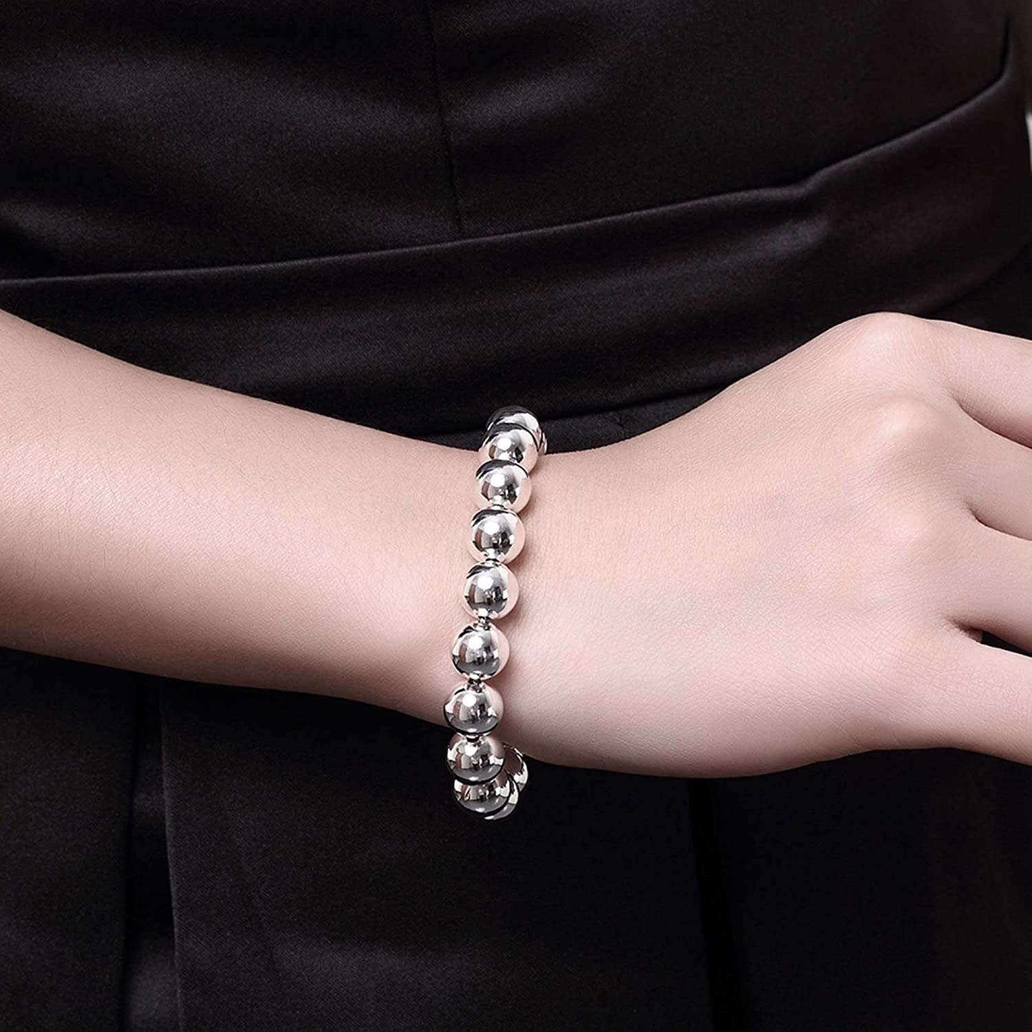 10mm PMANY 925 Sterling Silver Plated Round Beads Chain Bracelet Bangle