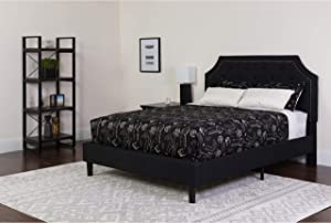 EMMA + OLIVER Queen Size Arched Tufted Upholstered Platform Bed in Black Fabric