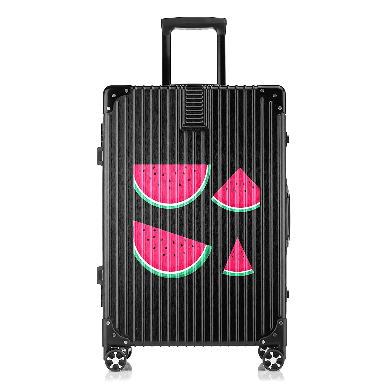 GSHCJ スーツケース フルーツ スイカ キャリーケース 20インチ おしゃれ ブラック Tsaロック搭載 プリント ハード 超軽量 軽い 機内持込 ロックファスナー 旅行 ビジネス 出張 海外 修学旅行 丈夫 便利 レディース メンズ 学生 B07RZ88HPX