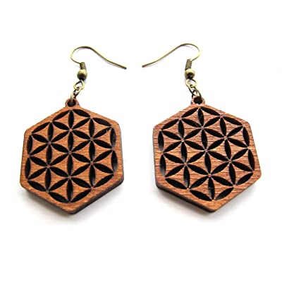 """Wooden laser cut earrings """"Inverted Flower of Life"""", Sacred Geometry Yoga Jewelry"""