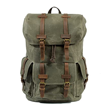 c25f077740d3 Amazon.com: KEROUSIDEN Retro Waterproof Wax Canvas Travel Backpack ...