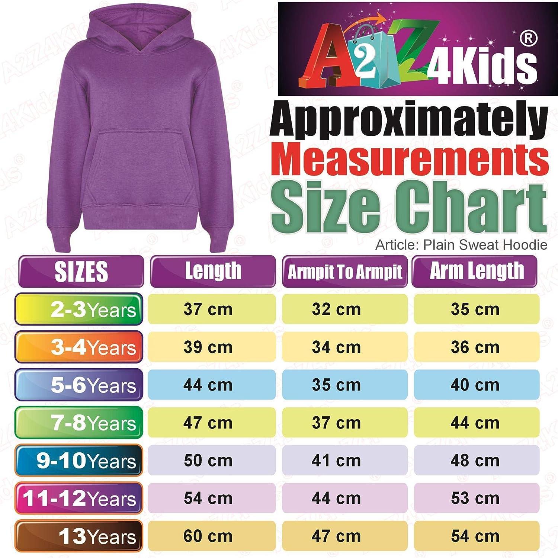 A2Z 4 Kids/® Kids Girls Boys Sweatshirt Tops Designers Casual Plain Pullover Sweatshirt Fleece Hooded Jumper Coats Warm Shirts Age 2 3 4 5 6 7 8 9 10 11 12 13 Years