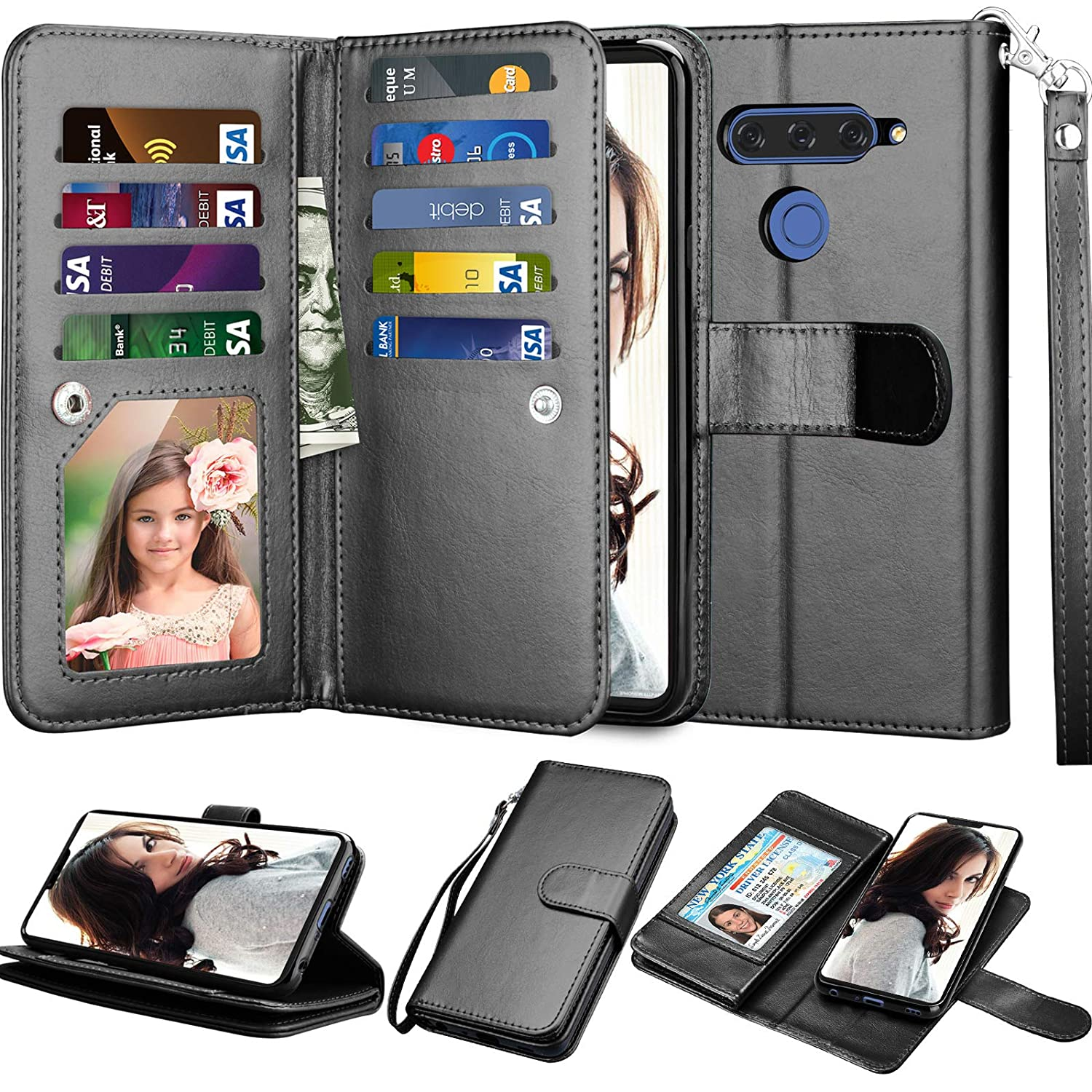 LG V40 ThinQ Wallet Case, LG V40 Case, LG V40 Storm Case, Njjex [9 Card Slots] PU Leather ID Credit Folio Flip [Detachable][Kickstand] Magnetic Phone Cover & Wrist Strap for LG V40 2018 [Black]