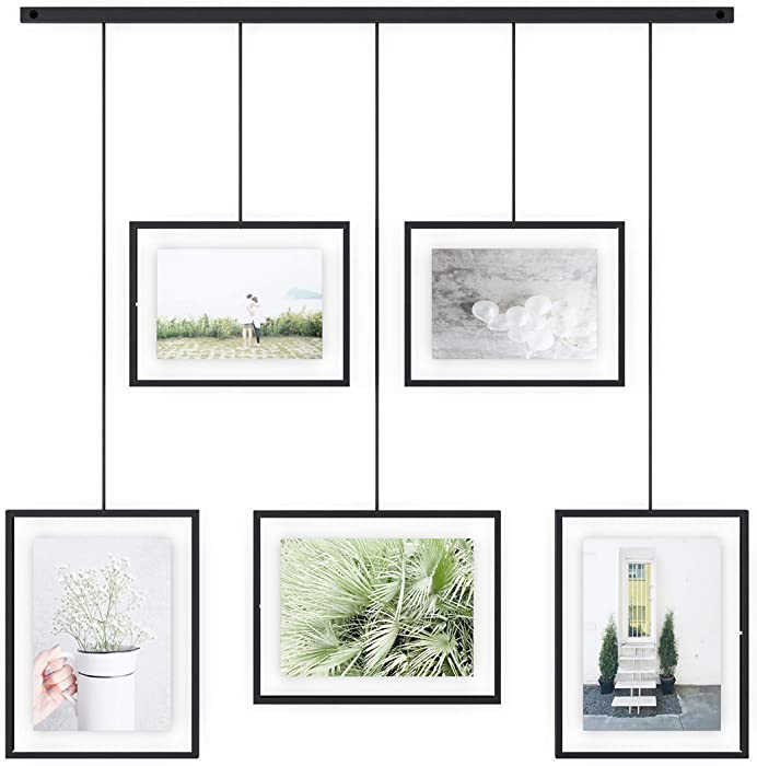 Umbra Exhibit Picture Frame Gallery Set Adjustable Collage Display for 5 Photos, Prints, Artwork & More (Holds Two 4 x 6 inch and Three 5 x 7 inch Images), 11 x 14 (Floats 8-1/2 x 11), Black