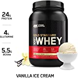 Optimum Nutrition Gold Standard 100% Whey Protein Powder, Vanilla Ice Cream, 908 Grams
