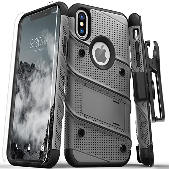 sports shoes f8966 921f1 Zizo Bolt Series Compatible with iPhone X Case Military Grade Drop Tested  with Screen Protector, Kickstand and Holster iPhone Xs Metal Gray