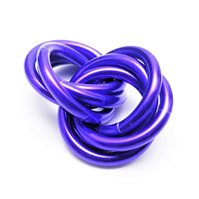 Half Möbii Ultra Violet: Small Mobius Hand Fidget Toy, Shiny Stress Rings for Restless Hands, Office Toy