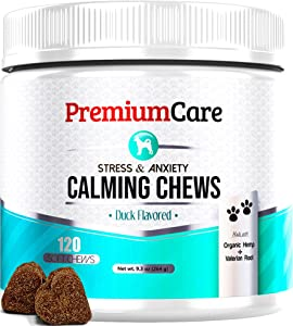 PREMIUM CARE Calming Treats for Dogs - Made in USA - Aids Stress, Anxiety, Storms, Barking, Separation and More - Organic Kelp + Valerian Root Soft Chews - 120 Count Dog Calming Treats