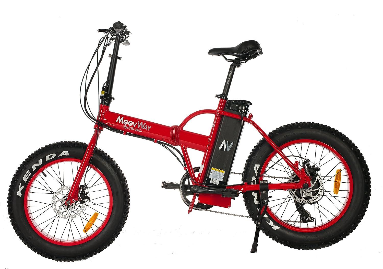 MoovWay Velo eléctrico Fatbike Todo Terreno (Plegable), Color Rojo: Amazon.es: Deportes y aire libre