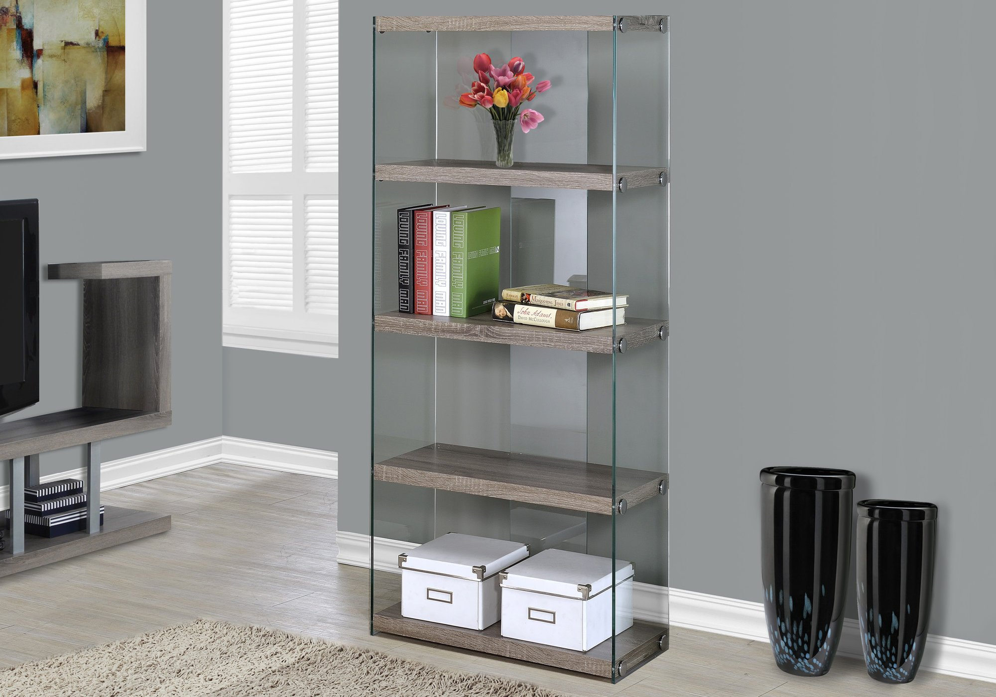 Monarch Specialties Bookcase - 5-Shelf Etagere Bookcase - Contemporary Look with Tempered Glass Frame Bookshelf - 60''H (Dark Taupe) by Monarch Specialties
