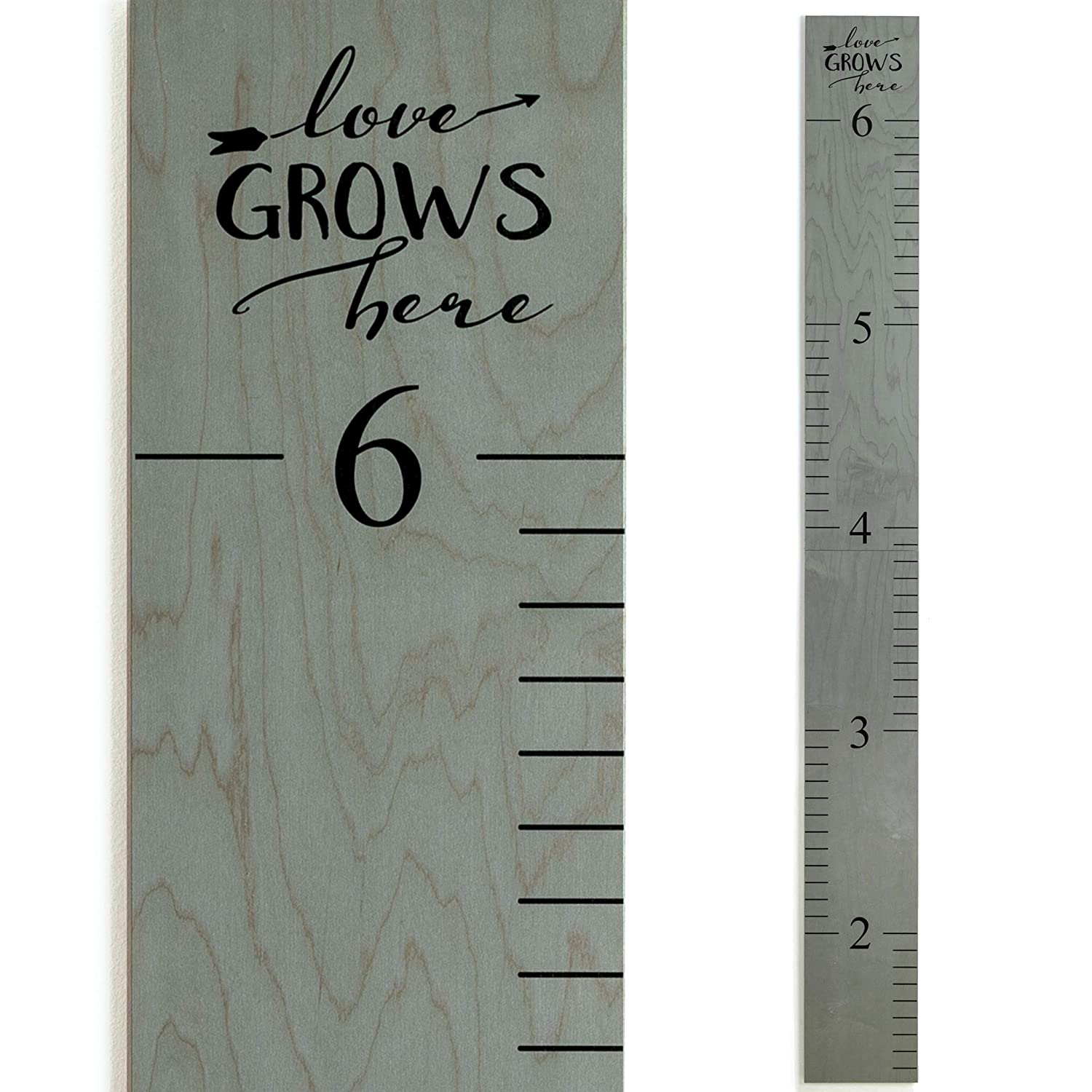 Wooden Ruler Growth Charts Ruler for Boys and Girls | Weathered Gray | Love Grows Here