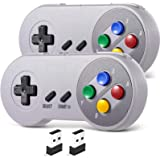 2 Pack 2.4 GHz Wireless USB Controller Compatible with SNES Games, SAFFUN SNES Retro USB PC Super Classic Controller for…