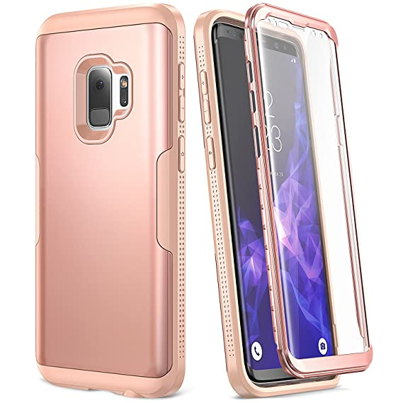 quality design 2ae66 0a2b9 YOUMAKER Galaxy S9 Case, Rose Gold with Built-in Screen Protector Heavy  Duty Protection Shockproof Slim Fit Full Body Case Cover for Samsung Galaxy  S9 ...