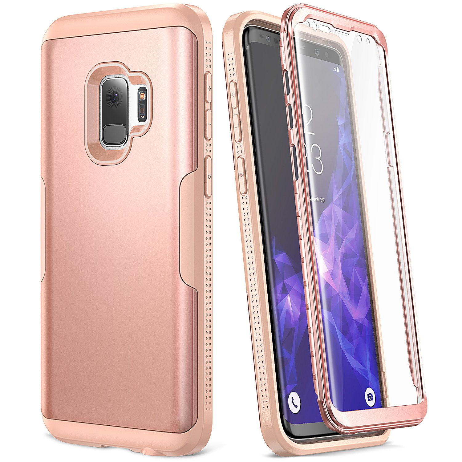 Galaxy S9 Case, YOUMAKER Rose Gold with Built-in Screen Protector Heavy Duty Protection Shockproof Slim Fit Full Body Case Cover for Samsung Galaxy S9 5.8 inch (2018) - Rose Gold/Pink