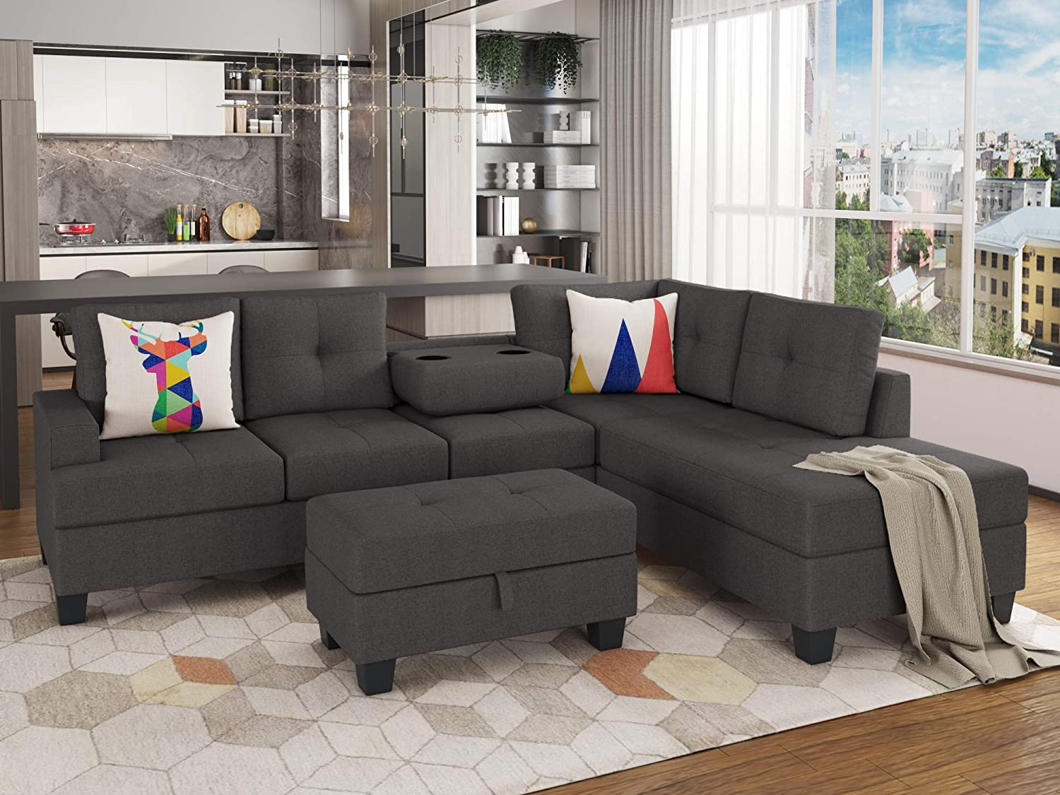 STARTOGOO Black Sectional Couch, L-Shape Sofa Matching Storage Ottoman and Cup Holders for Living Room