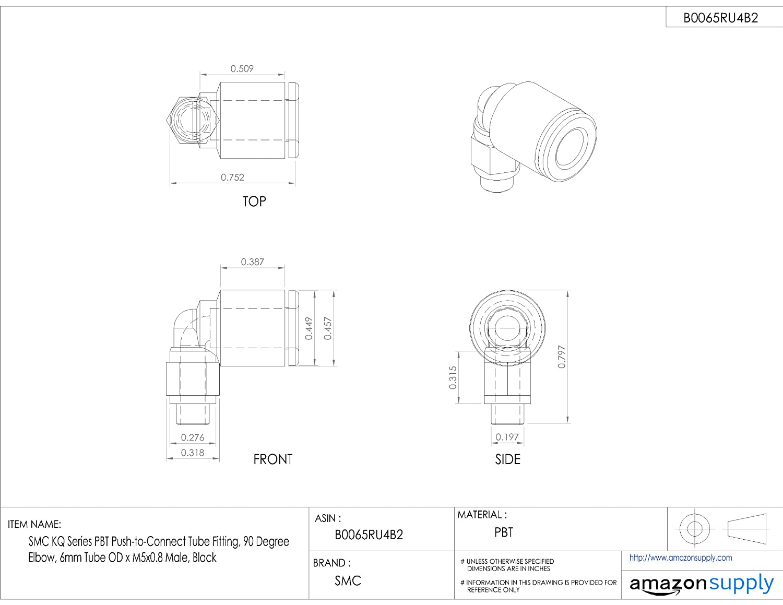 Black SMC KQ Series PBT Push-to-Connect Tube Fitting 90 Degree Elbow 6mm Tube OD x M5x0.8 Male