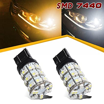 2PCS 7440 7443 992 7444NA T20 Led Dual Color Amber White Turn Signal Light Bulb LED