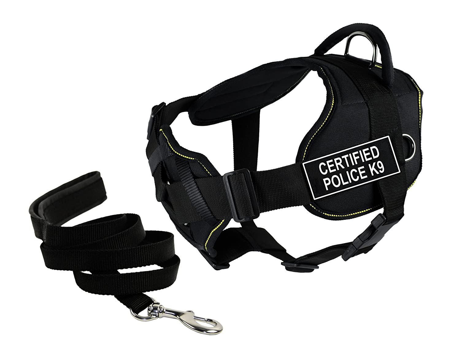 Dean & Tyler's DT Fun Chest Support CERTIFIED POLICE K9 Harness, Large, with 6 ft Padded Puppy Leash.