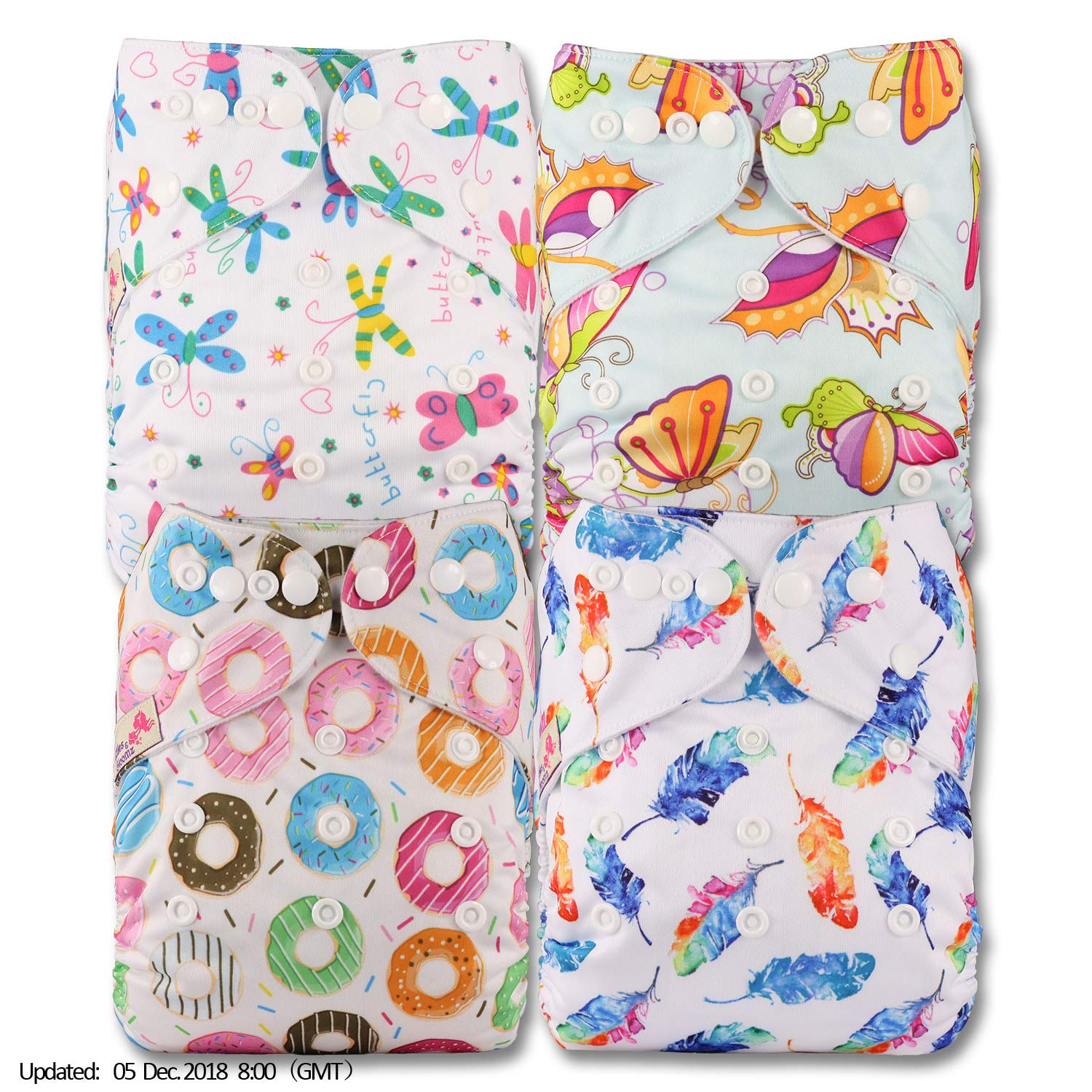Patterns 404 Fastener: Popper with 4 Bamboo Charcoal Inserts Littles /& Bloomz Reusable Pocket Cloth Nappy Set of 4