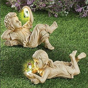 Mei T Garden Sculptures & Statues Outdoor Garden Statues Solar Lighted Firefly Jar Garden Children Boy Girl Statue Utdoor Sculpture Decor Boys and Girls