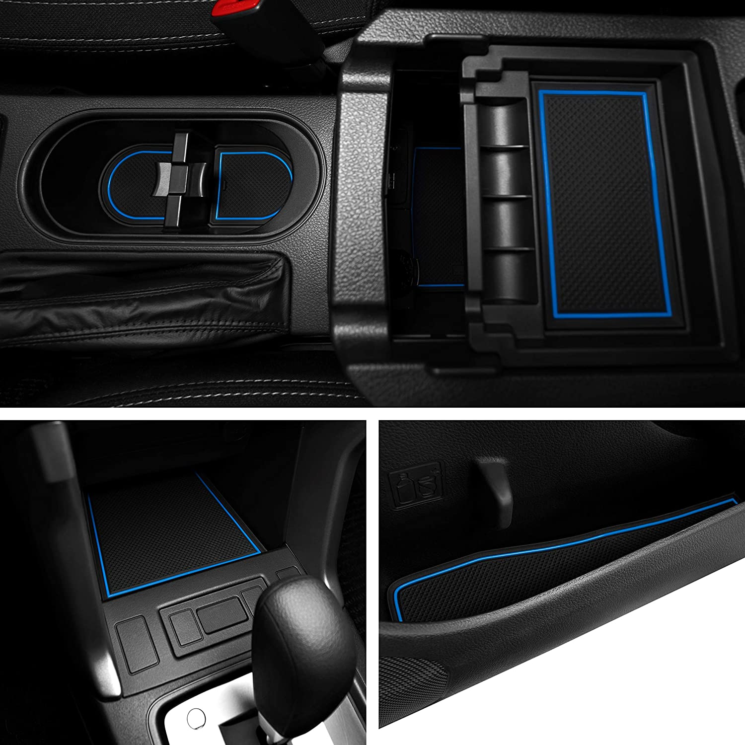 and Console Liner Acessories for Subaru Forester 2014 2015 2016 2017 2018 Door Custom Fit Cup Blue Trim