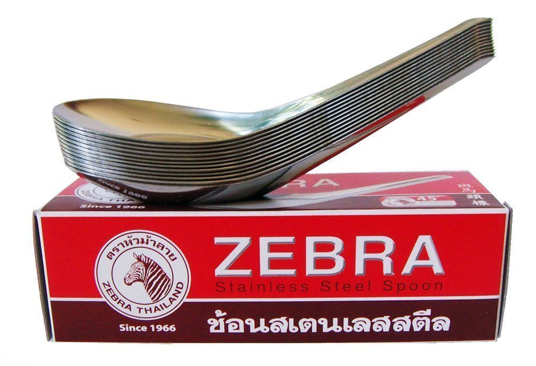 Zebra Thai Chinese Asian Stainless Steel Rice Soup Spoons (36 Pack), Silver by Zebra