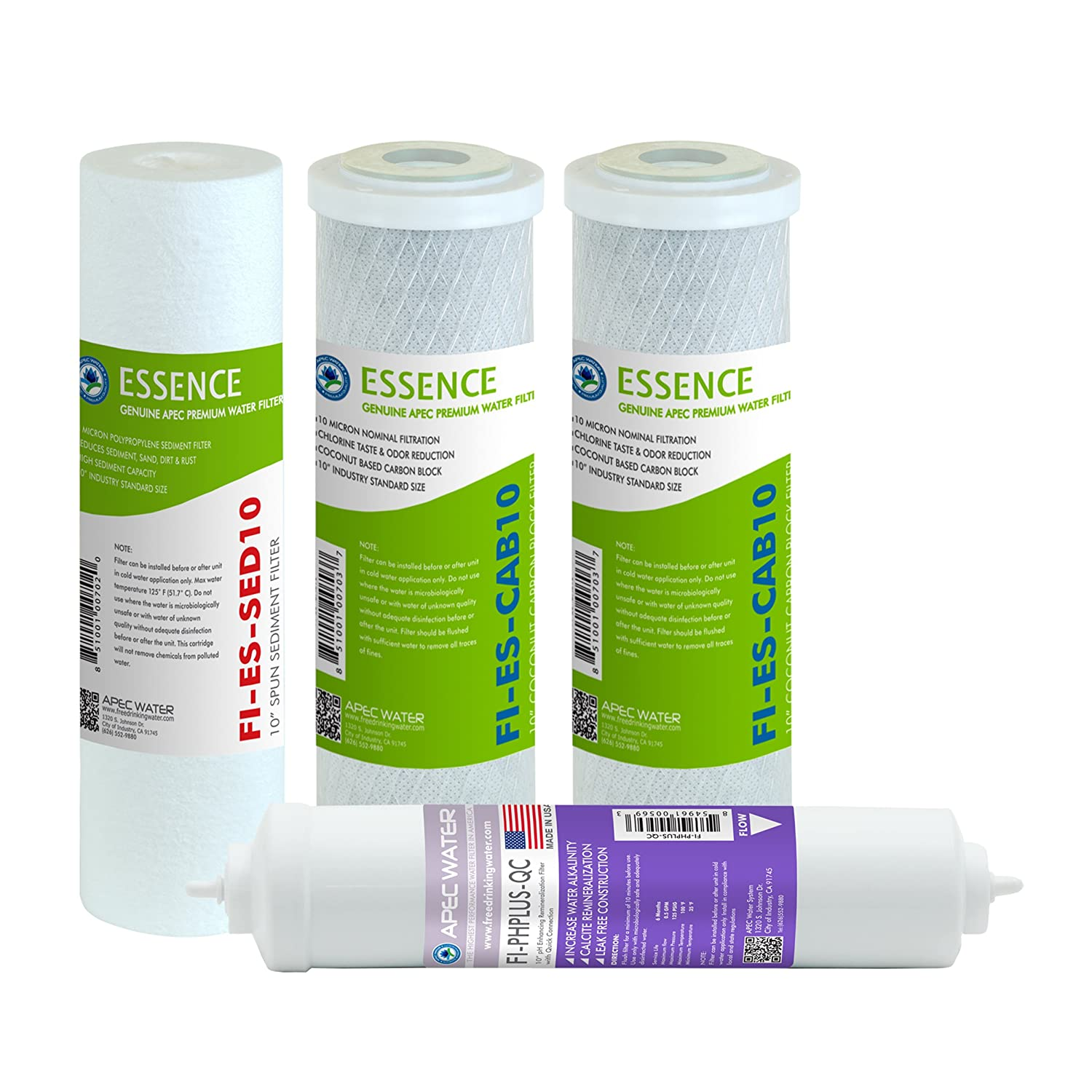 APEC Water Systems FILTER-SET-ESPH High Capacity Replacement Filter Set For Essence Series Alkaline Reverse Osmosis Water Filter System Stage 1-3&6