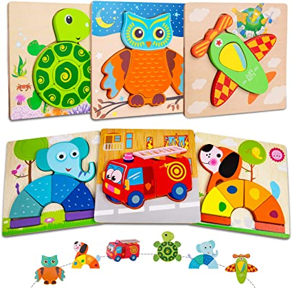 Wooden Puzzles for Toddlers and Kids 1 2 3 Year Old Boy and Girl Children Toys