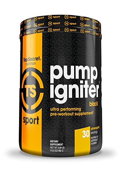 Top Secret Nutrition Pump Igniter Black Pre-workout Supplement with Beta-alanine, L-Citrulline, and Hydromax, Net Wt. 0.99 lbs. (30 servings) Pineapple