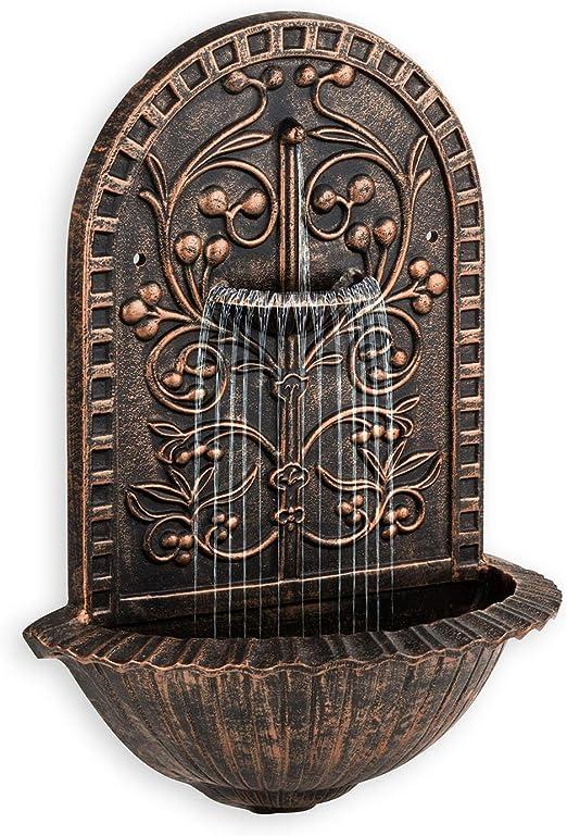 blumfeldt Feronia Fuente Decorativa de Pared de jardín (Bomba 5W circulación de Agua, diseño Estilo Antiguo, Efecto Bronce): Amazon.es: Jardín