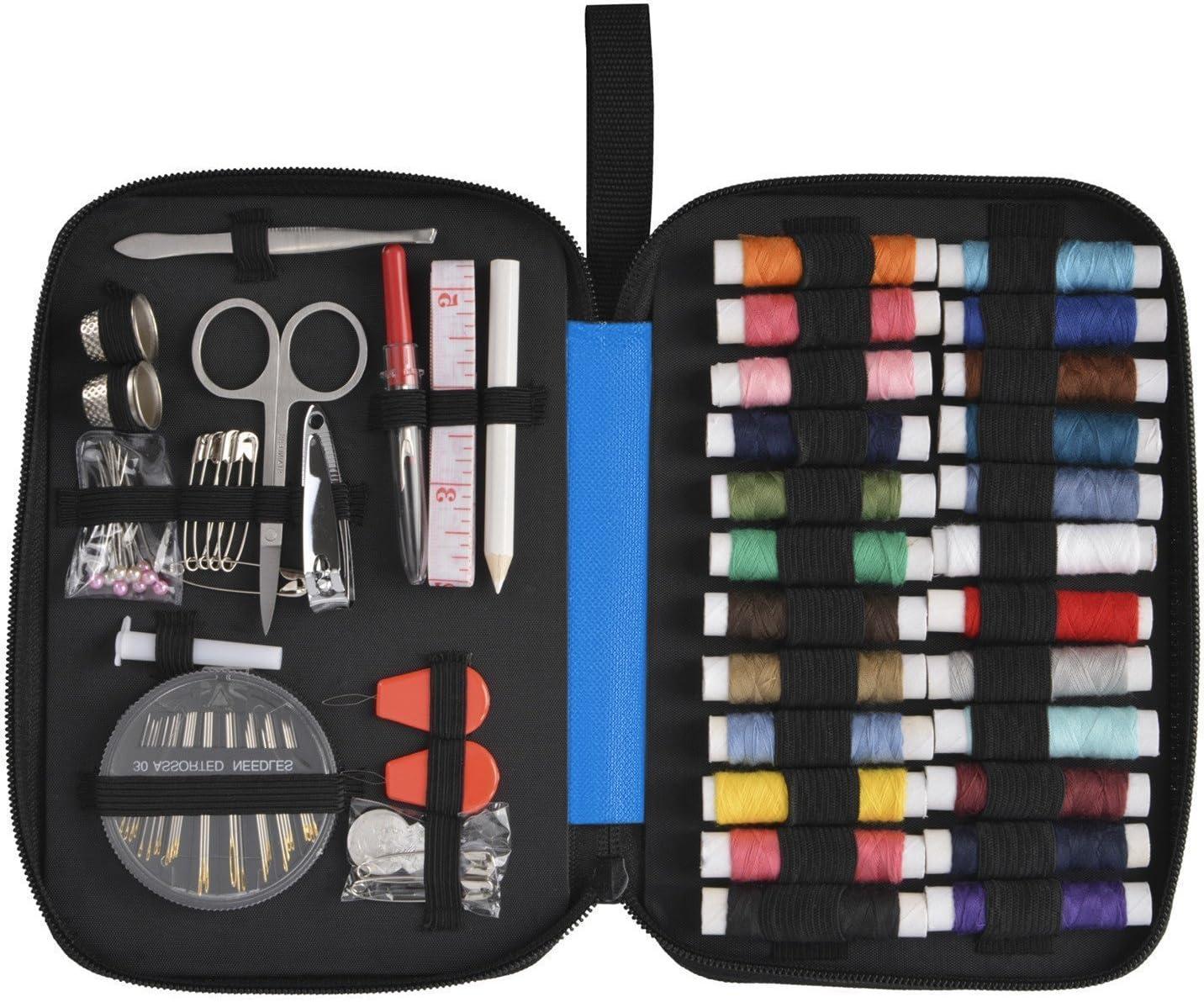 Nestron - Kit de costura con 90 accesorios + estuche de tela Oxford de alta calidad para principiantes o para viajar - Color: azul: Amazon.es: Hogar