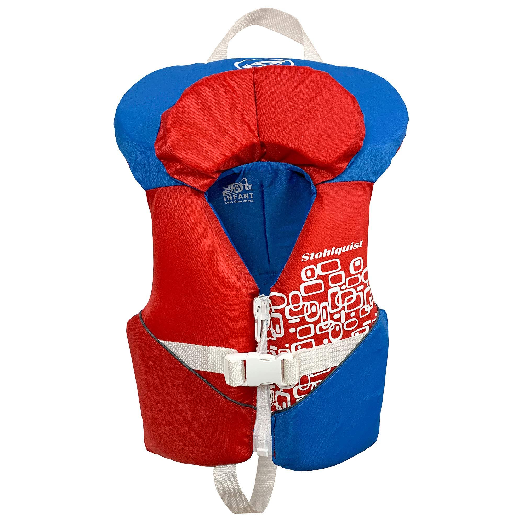 Stohlquist Toddler Life Jacket Coast Guard Approved Life Vest for InfantsRed/White/Blue-Infant