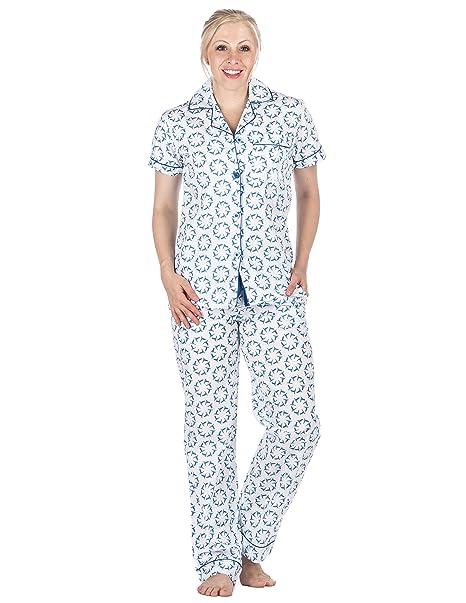 Pijama de Manga Corta de 100% Poplín Algodón para Mujer- Colibrí Blanco/Azul