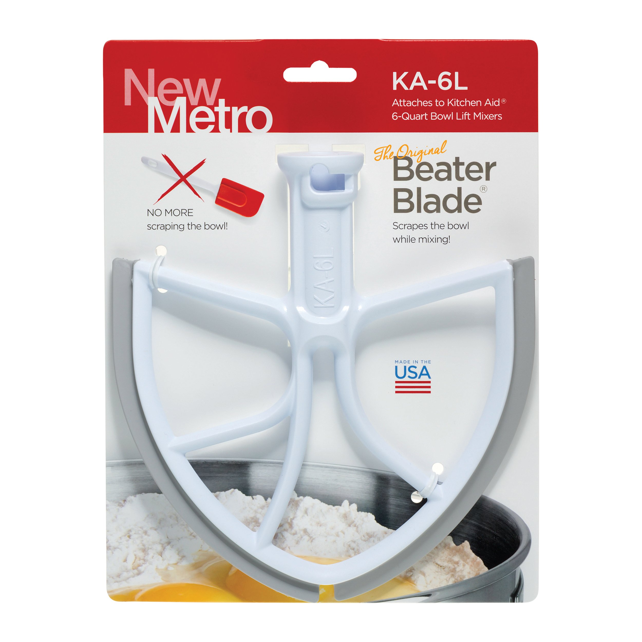 Original BeaterBlade for KitchenAid 6-Quart Bowl Lift Mixer, KA-6L, White, Made in USA by New Metro Design (Image #1)