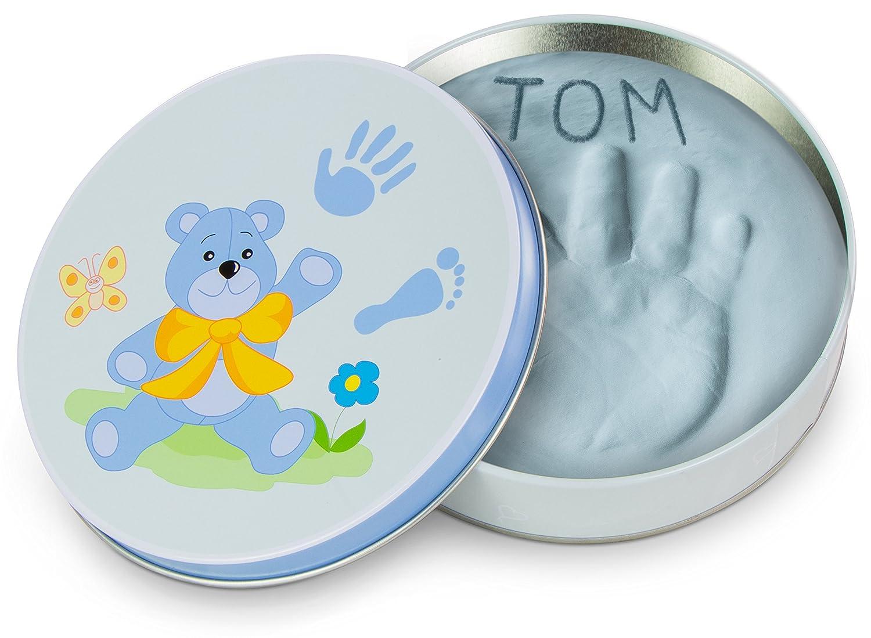 Baby Hand und Fuß Gipsabdruck für Jungen in dekorativer Geschenkbox aus Metall - Farbe Blau - Ø ca. 14 cm - Grinscard