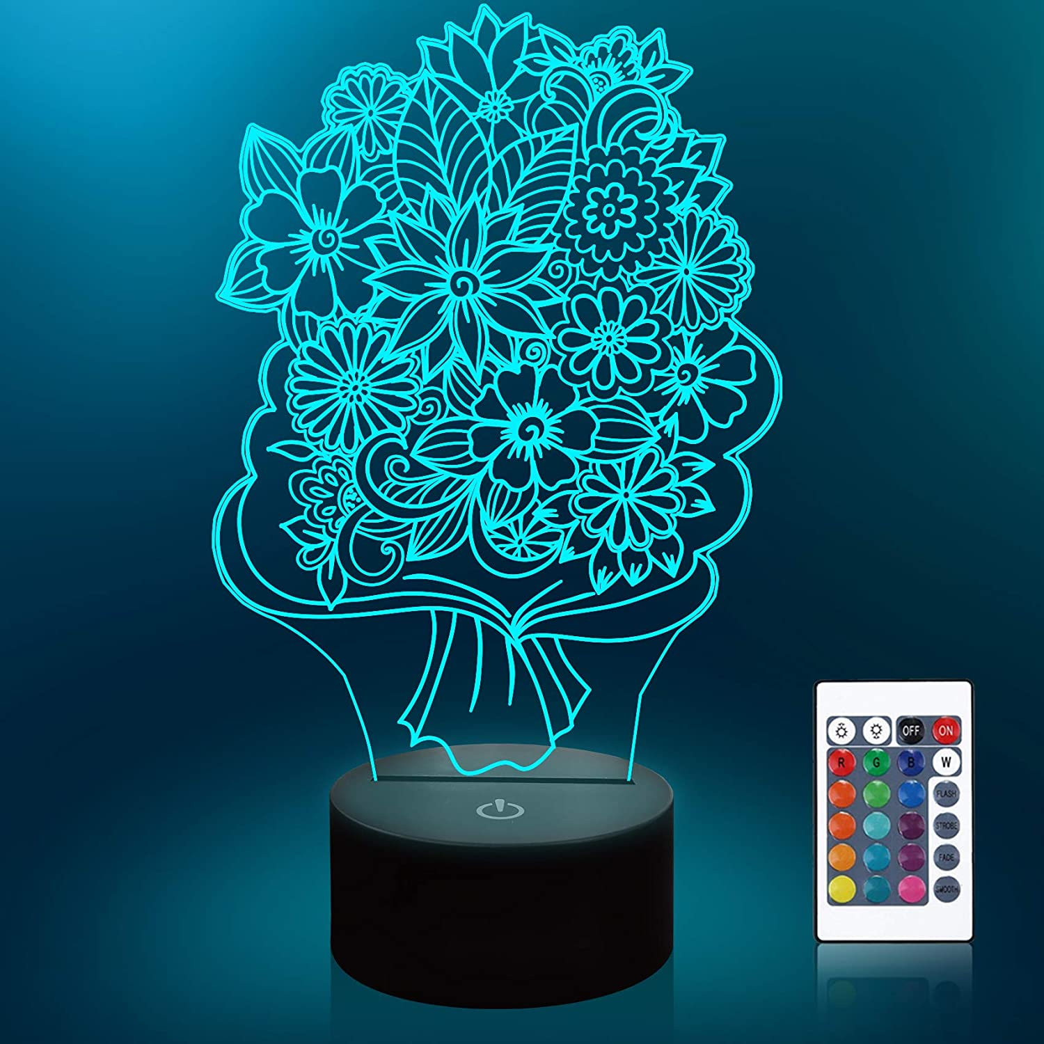Lampeez 3D Flowers Lamp Night Light 3D Illusion lamp for Kids, 16 Colors Changing with Remote, Kids Bedroom Decor as Xmas Holiday Birthday Gifts for Boys Girls
