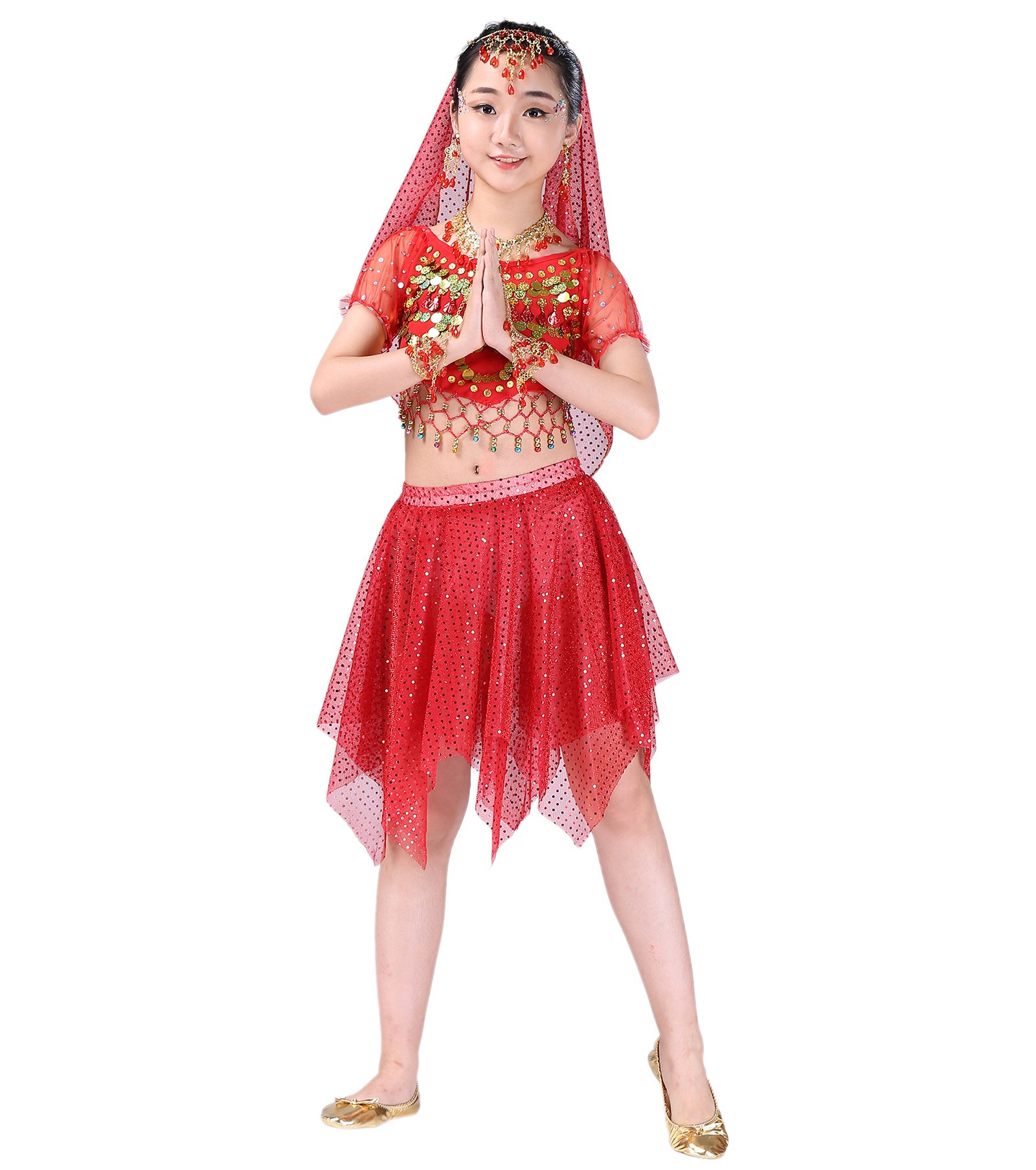 Astage Girl Belly Dance Cosplay Short Sleeve Top Skirts Headscarf Sets 9pcs Red