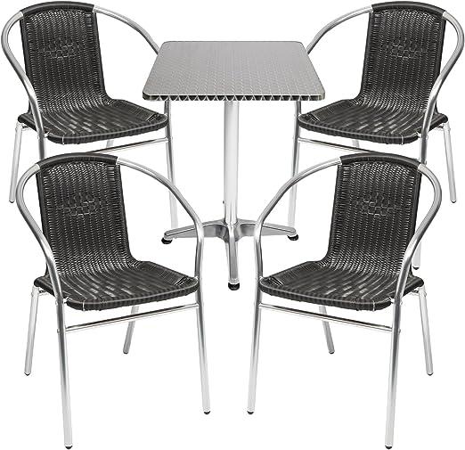 mojawo® Salon de 5 pièces table de bistrot aluminium carré ...