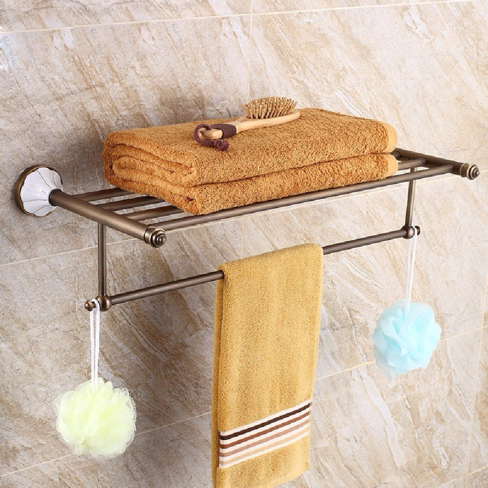 HQLCX European Style Retro Towel Bar, All Copper American Antique Towel Bar