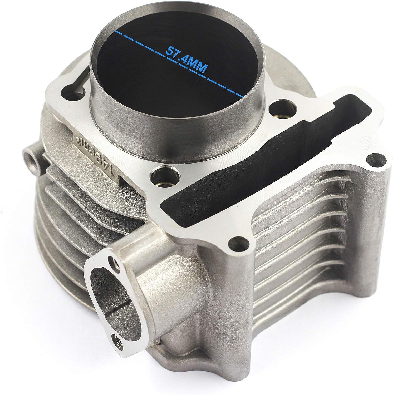 Trkimal GY6 150cc 57.4mm Bore Cylinder kit with Piston Kit 4 Stroke 152QMI 157QMJ for TAOTAO JONWAY ZNEN Roketa ATV Moped Go-Kart