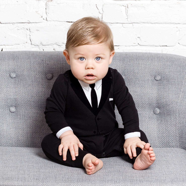 for Weddings Parties or Even Fancy Naps 100/% Cotton Romper for Tiny Gentlemen The Tiny Universe Baby Boy Onesie Dress Suit /& Tie