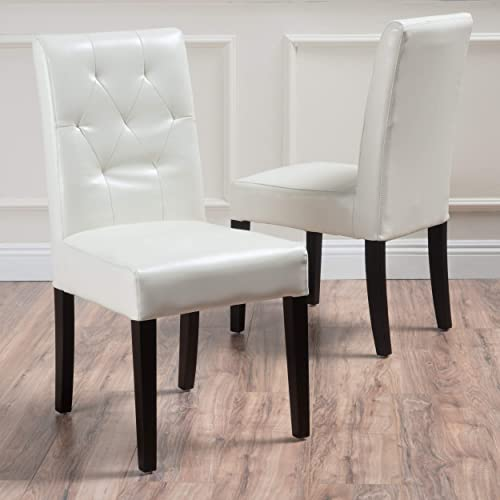 Christopher Knight Home Waldon Ivory Leather Dining Chairs w Tufted Backrest Set of 2 , white