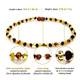 Natural Baltic Amber Teething Necklace For Babies - Anti Inflammatory, Drooling & Teething Pain Relief - Multi Color - Polished - Unisex, 12.5 Inches, Screw Clasp, Knots - Perfect Baby Shower Gift