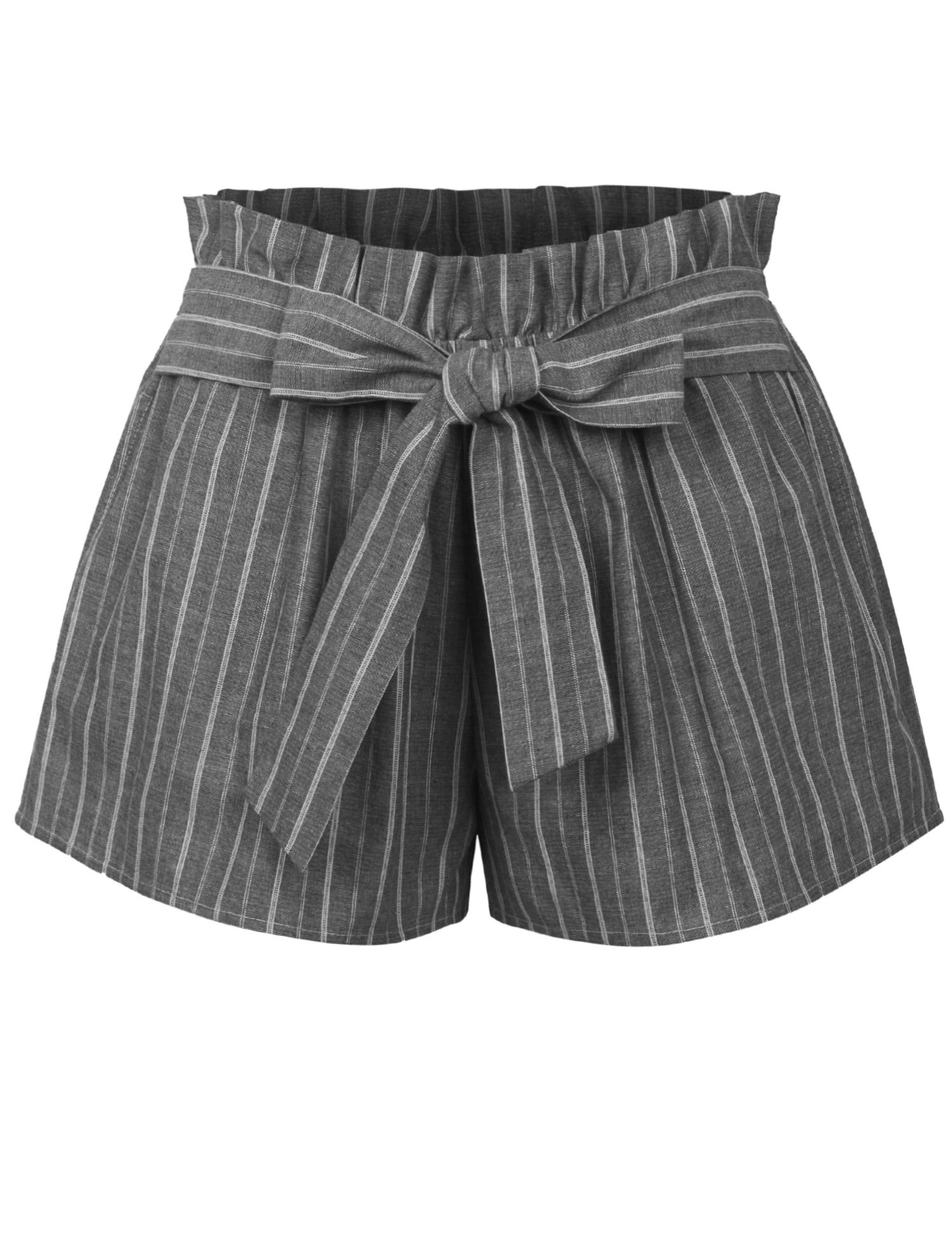 KOGMO Womens Casual Striped Summer Beach Shorts with Self Tie Bow-L-Black