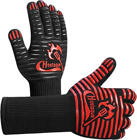 DUTOUE 1472℉Extreme Heat Resistant BBQ Gloves,Food Grade Kitchen Oven Mitts,Professional Silicone Non-Slip Flexible Oven Gloves for Grilling,Baking,Welding 1 Pair,Black,13 Inch