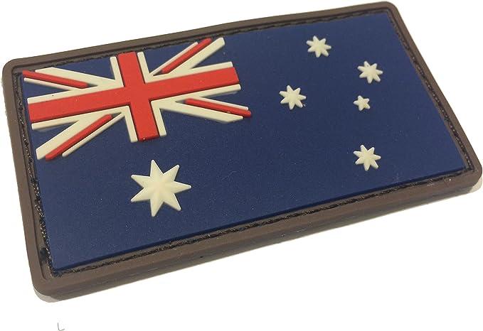 MSM La Bandera Australiana Color 3 x 1,5 Pulgadas táctica Nosotros Bandera de Estados Unidos PVC Gancho y Bucle Uniforme Parche: Amazon.es: Jardín