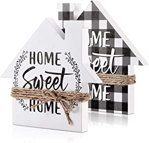 Jetec Double-Sided Home Sweet Home Decor Wooden Home Signs with Saying Black and White Buffalo Plaid Decor in House Shape Farmhouse Decor for Living Room Window Shelf Desk Office